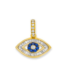 Baguette Diamond Evil Eye Charm in Yellow Gold with Blue Sapphires