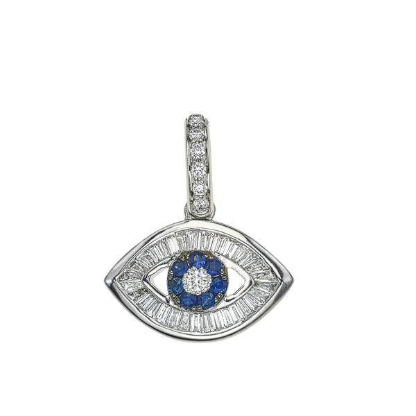 Baguette Diamond Evil Eye Charm with Blue Sapphires on White Gold Barrel Chain