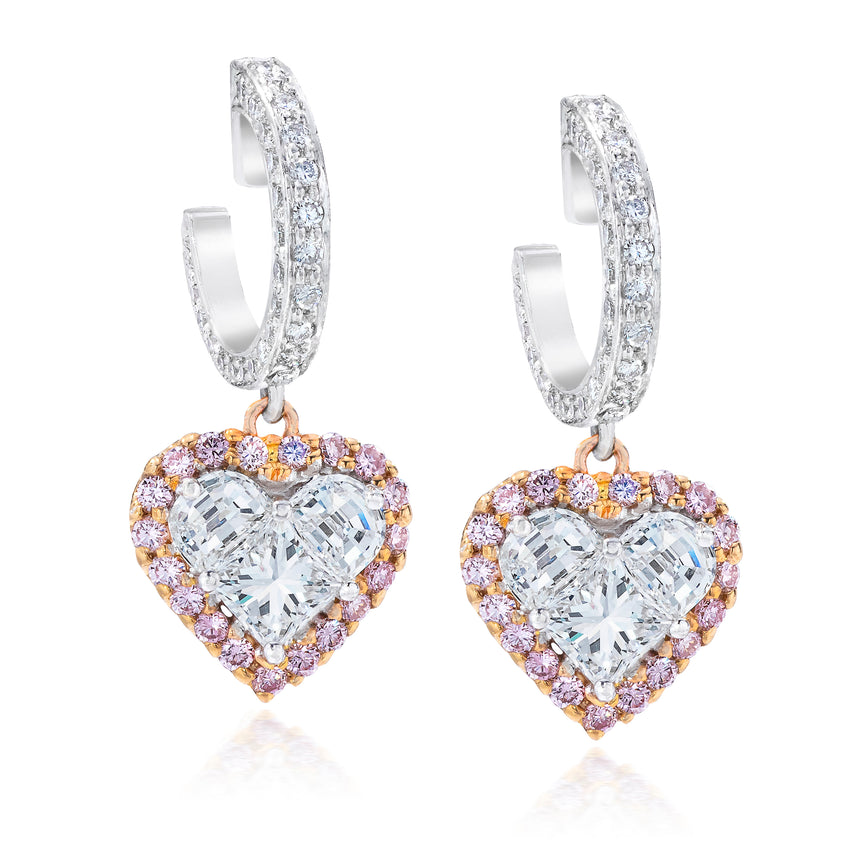 Diamond Heart Earrings Platinum and Rose Gold