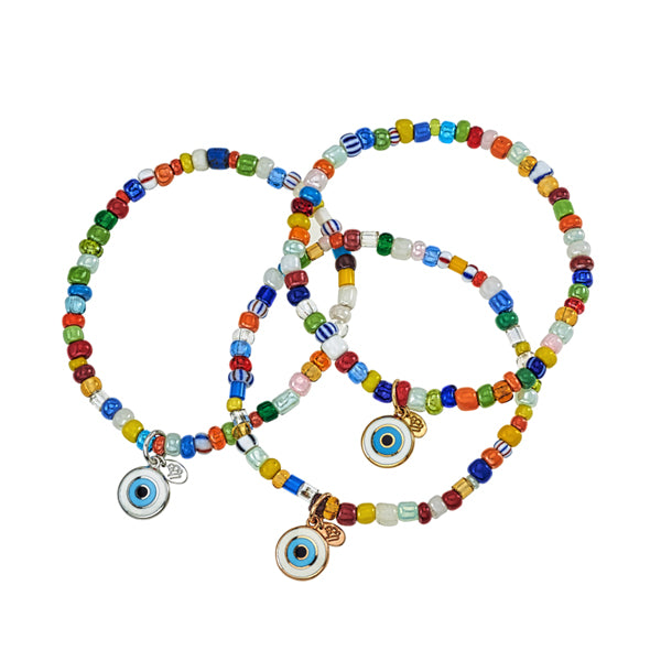 Evil Eye on Beaded Bracelets - Priced Individually