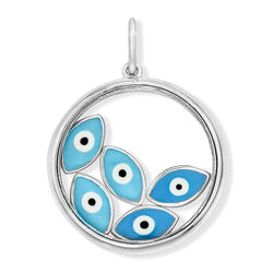 18K White Gold Floating Evil Eye Charm