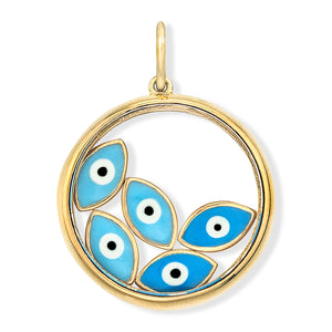 18K Yellow Gold Floating Evil Eye Charm