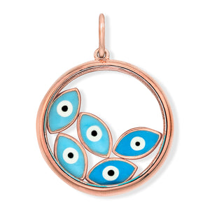 18K Rose Gold Floating Evil Eye Charm