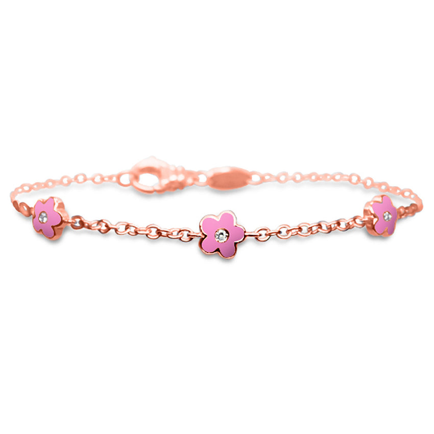 Flower Trio Bracelet - Available only in White Gold