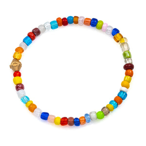 Colorful beaded bracelet with Good Luck Bead