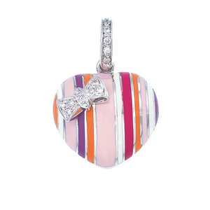 Striped Puffy Heart Charm with Diamond Bow