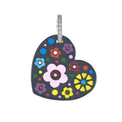 Titanium Floating Heart Charm with Multi Flowers
