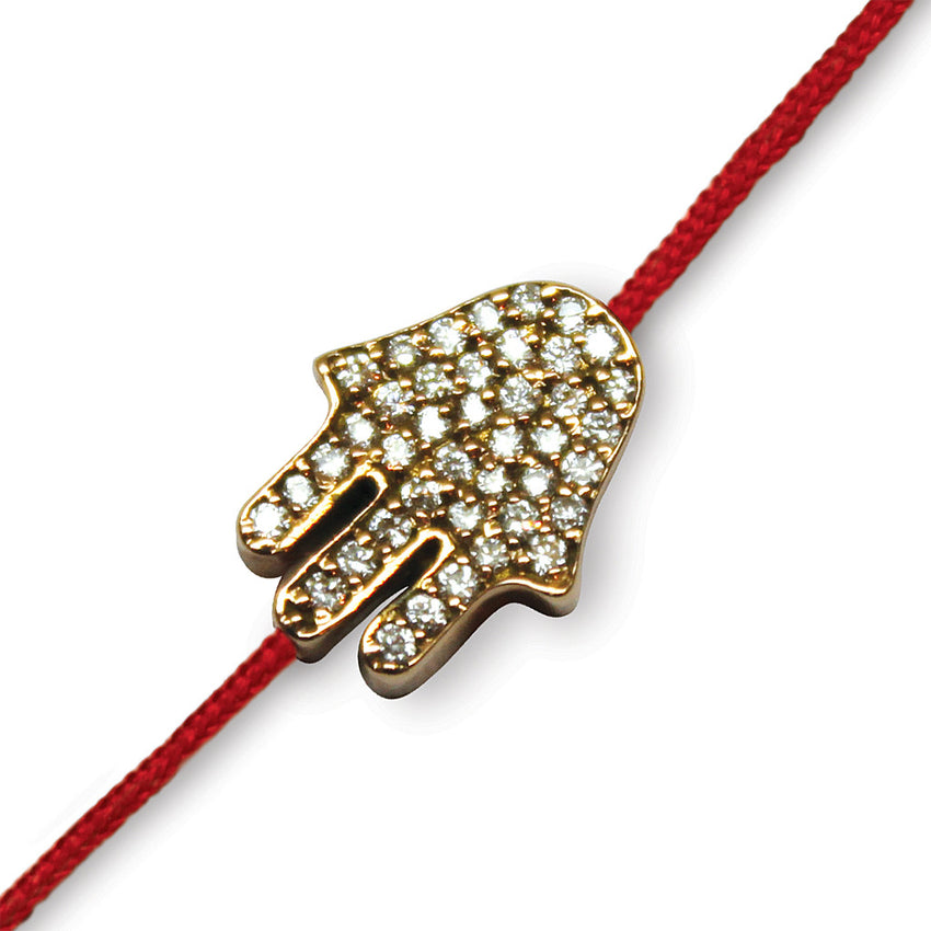 Pave Hamsa on a Red Cord (large)
