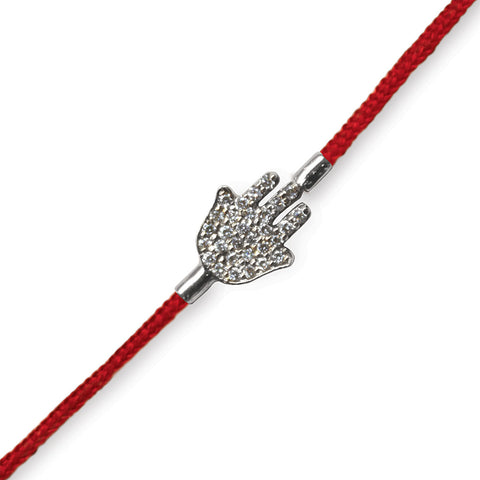 Pave Hamsa on a Red Cord (small)