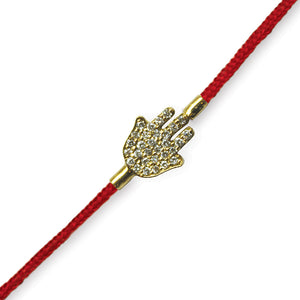 Pave Small Hamsa on a Red Cord