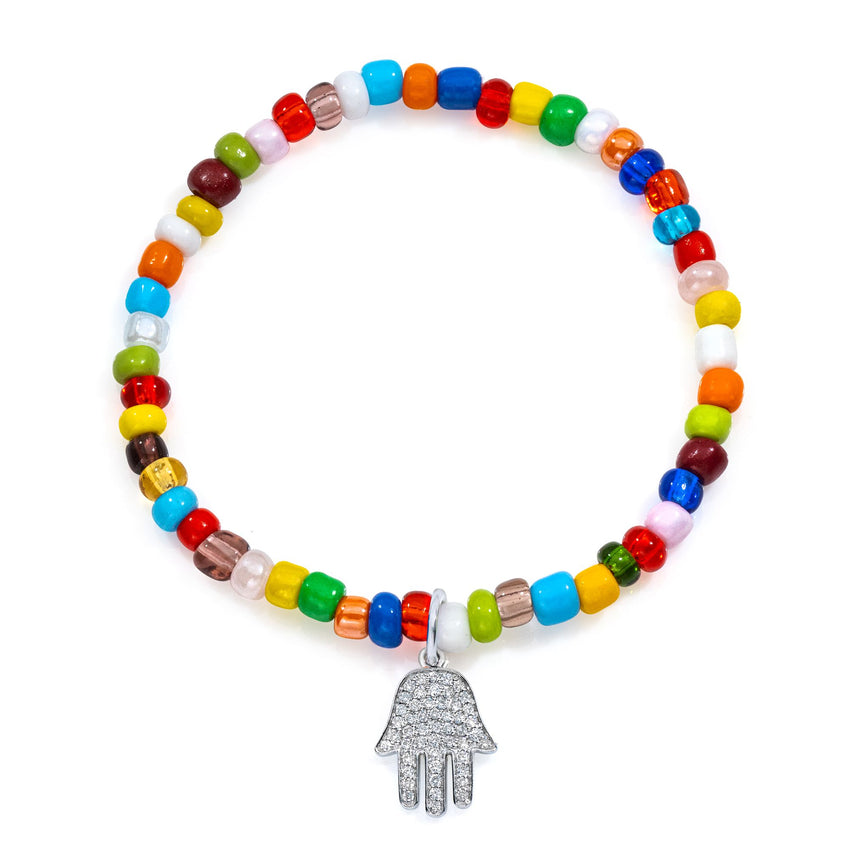 Pave Diamond White Gold Hamsa Large on Colorful Stretch Beaded Bracelet