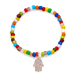 Pave Diamond Rose Gold Hamsa Large on Colorful Stretch Beaded Bracelet