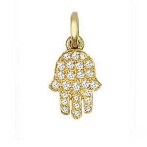PAVE DIAMOND HAMSA CHARM SMALL