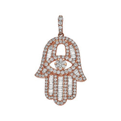 Baguette Diamond Rose Gold Hamsa - Large