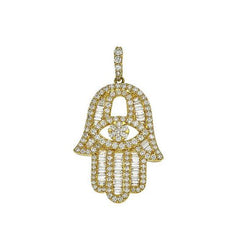 Baguette Diamond Yellow Gold Hamsa - Large
