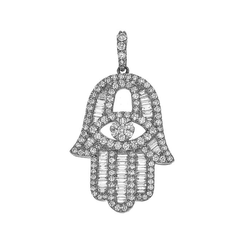 Baguette Diamond Hamsa (Large)