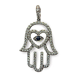Hamsa with Blue Sapphire Center