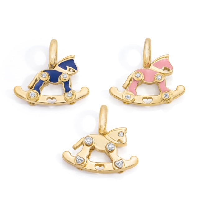 Rocking Horse Charm With Diamonds - Each sold individually