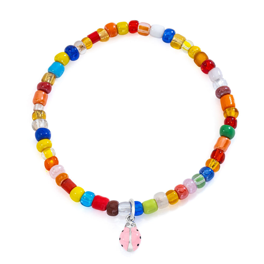 Pink Ladybug on colorful beaded bracelet
