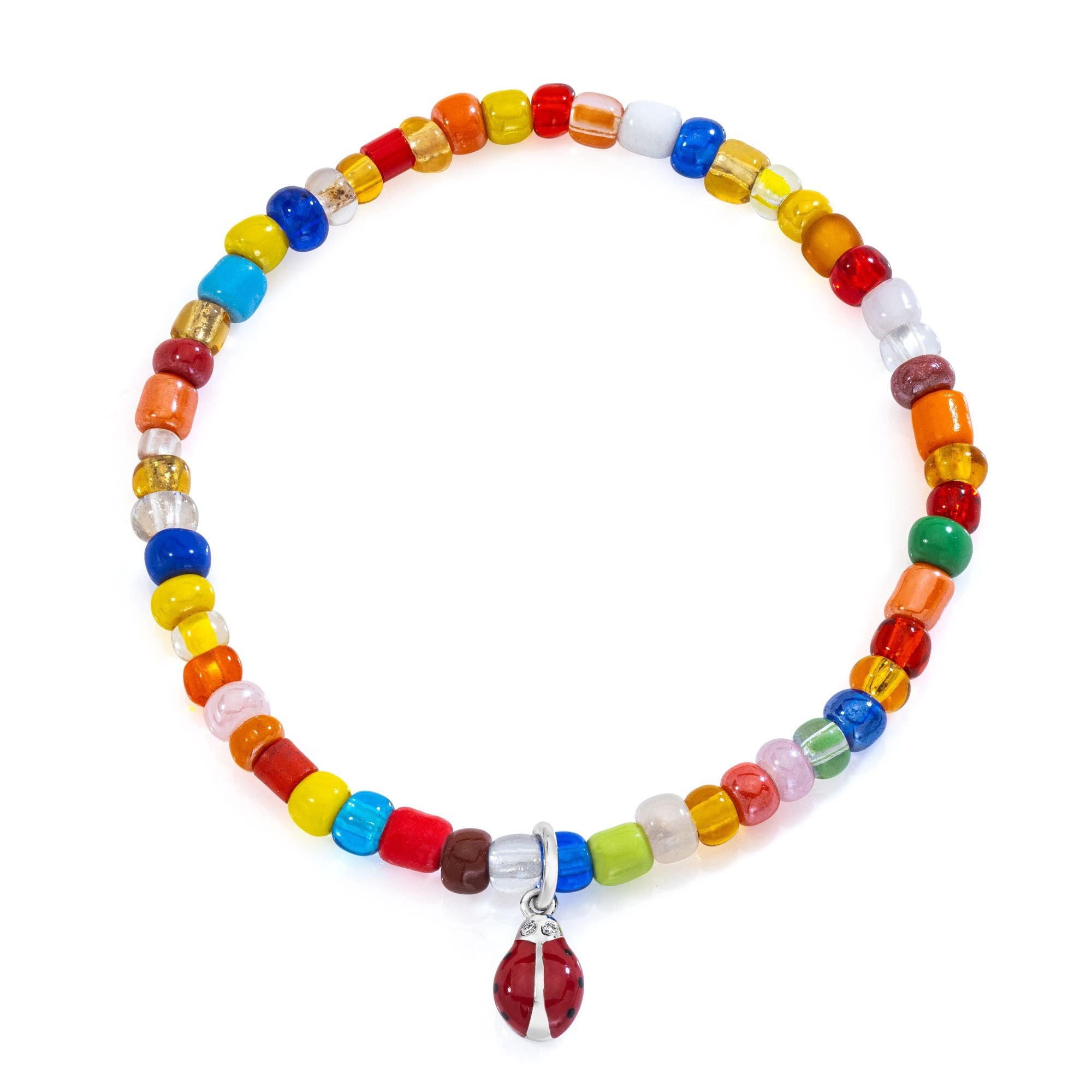Red Ladybug on colorful beaded bracelet