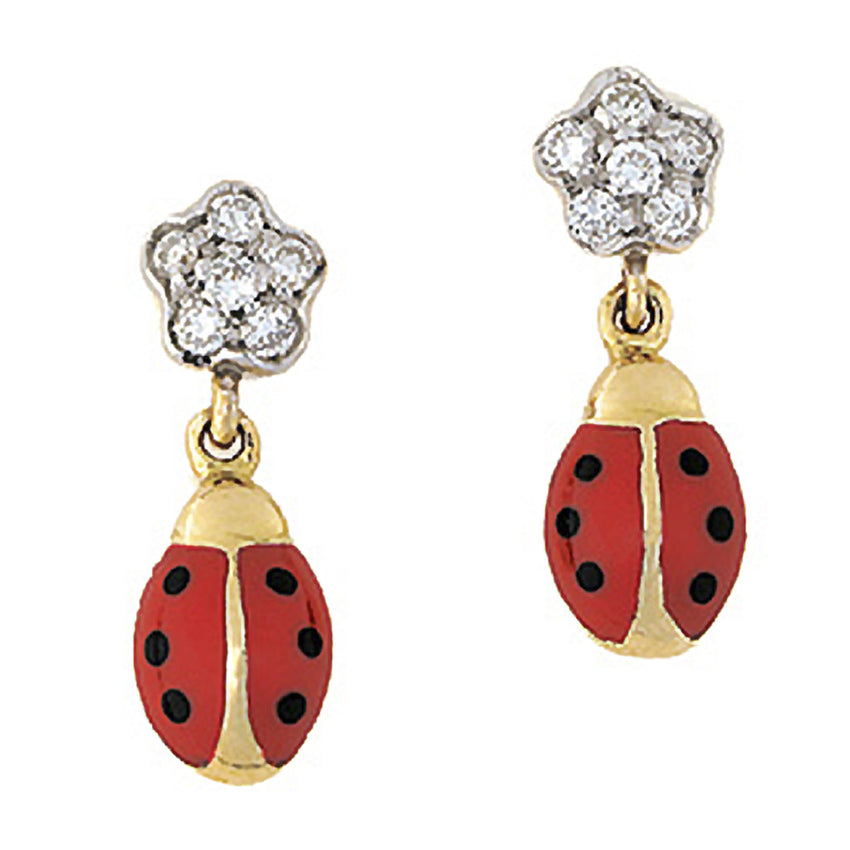 Diamond Flower Ladybug Hanging Earrings
