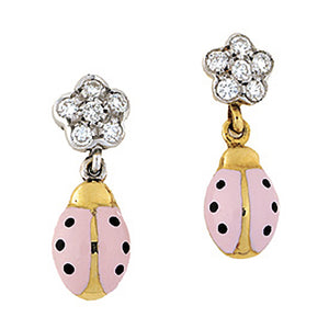 Diamond Flower Ladybug Earrings