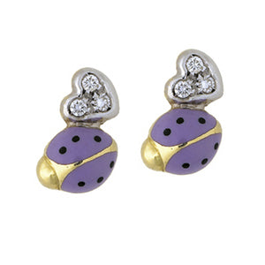 Diamond Heart Ladybug Stud Earrings