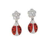 Diamond Flower Ladybug Hanging Earrings (Large)