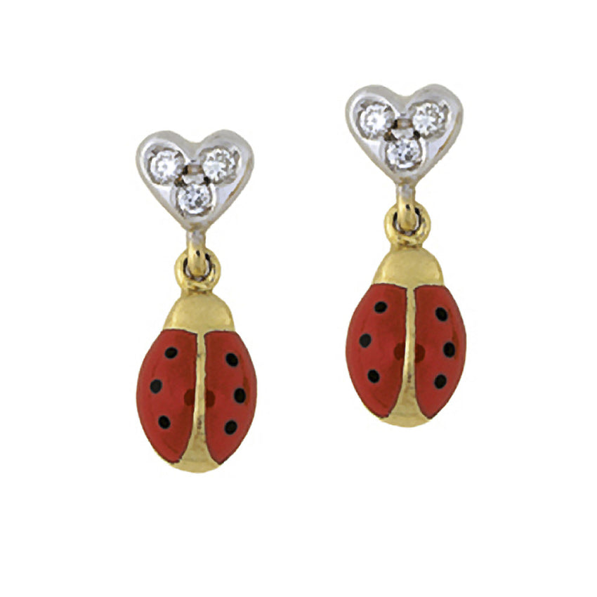 Diamond Heart Ladybug Hanging Earrings (Small)