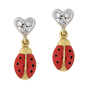 Ladybug Earring with Diamond Heart