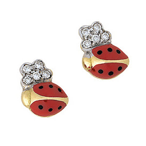Ladybug Diamond Stud Earrings