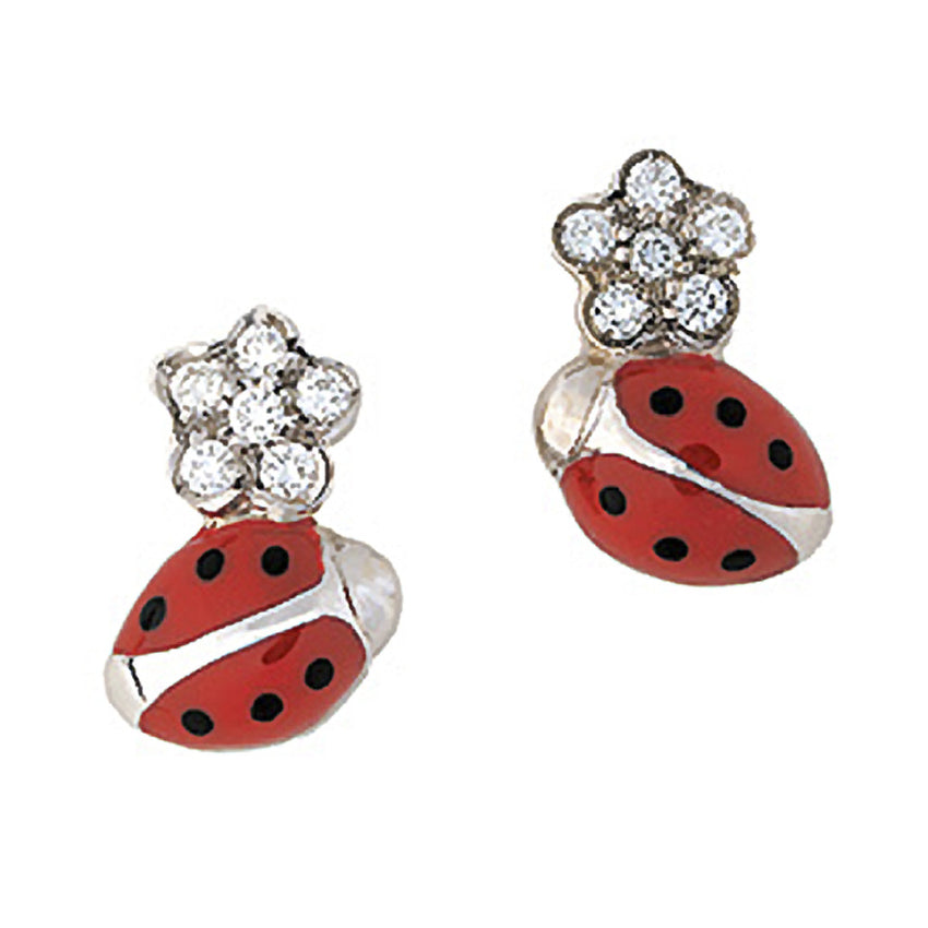 Diamond Flower Ladybug Stud Earrings