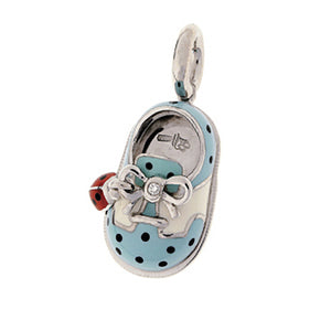 18K White Gold Polka Dot Saddle Shoe with Ladybug Accent