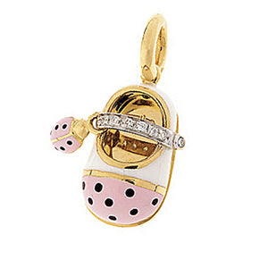 18K Yellow Gold Diamond Strap Shoe with Ladybug Accent