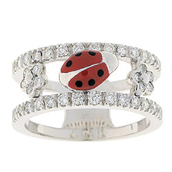 Ladybug & Diamond Double Decker Ring