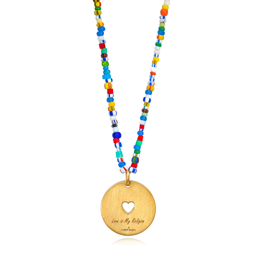 Love Is My Religion Yellow Gold on Colorful Beaded Chain