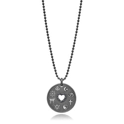 Love is My Religion Black Rhodium on Faceted Chain