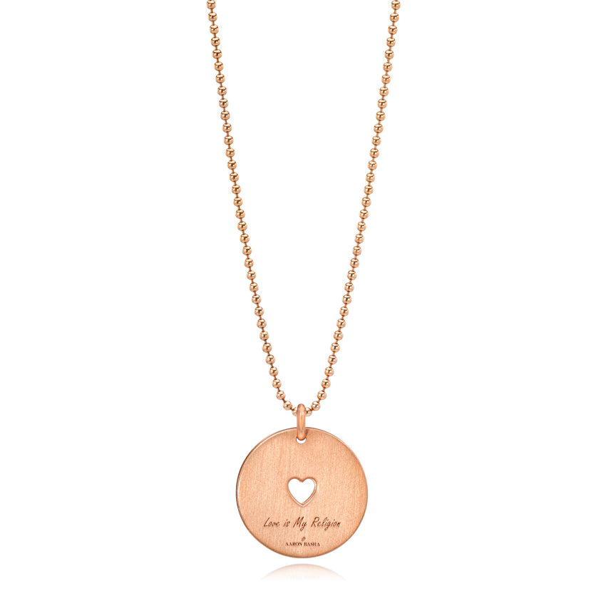 Love Is My Religion Rose Gold on Rose Gold Ball Faceted Chain