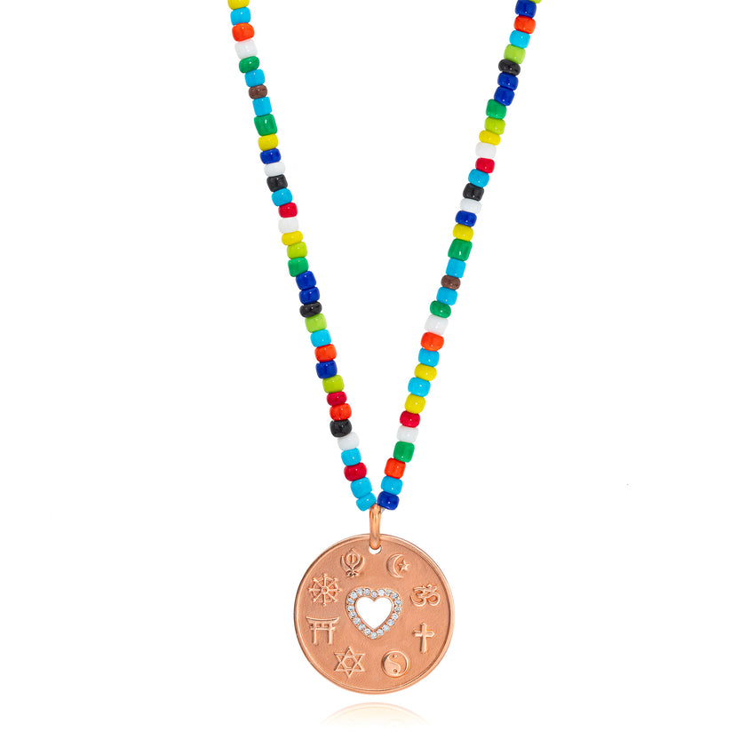 Love Is My Religion Rose Gold on Colorful Beaded Chain