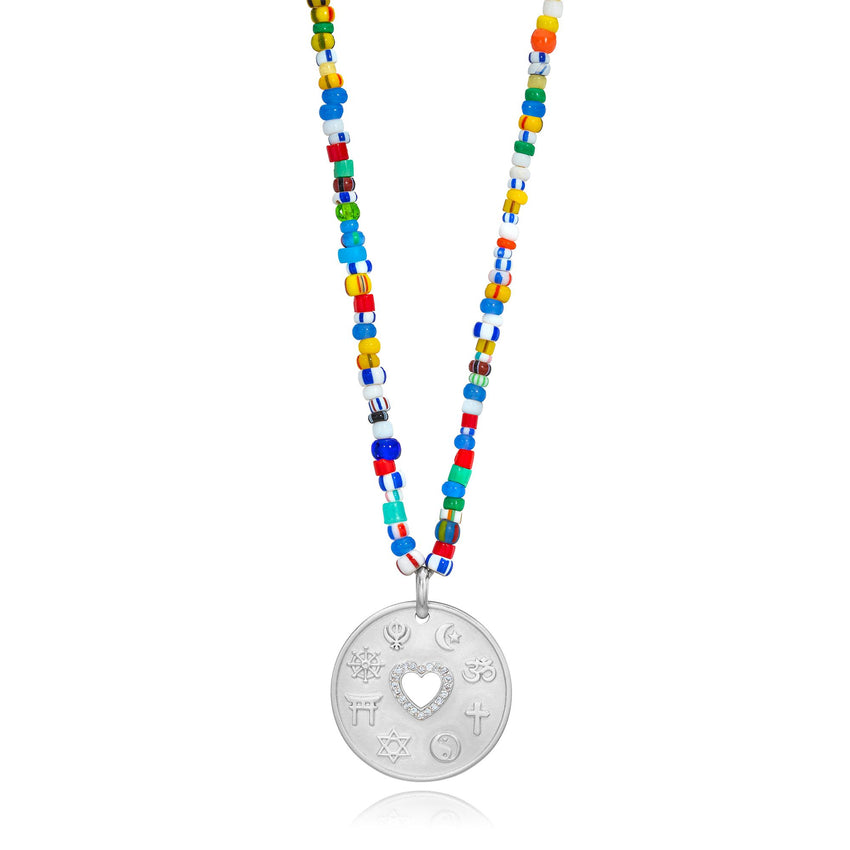 Love Is My Religion Silver on Colorful Beaded Chain