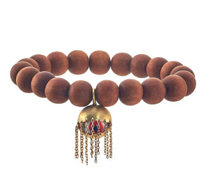 Shoosha Large Sandalwood Bracelet with Fringe Evil Eye, 14K Gold