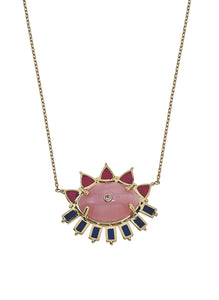 Melissa Evil Eye Pink Quartz & Ruby Gemstone Pendant Necklace, 14K Yellow Gold