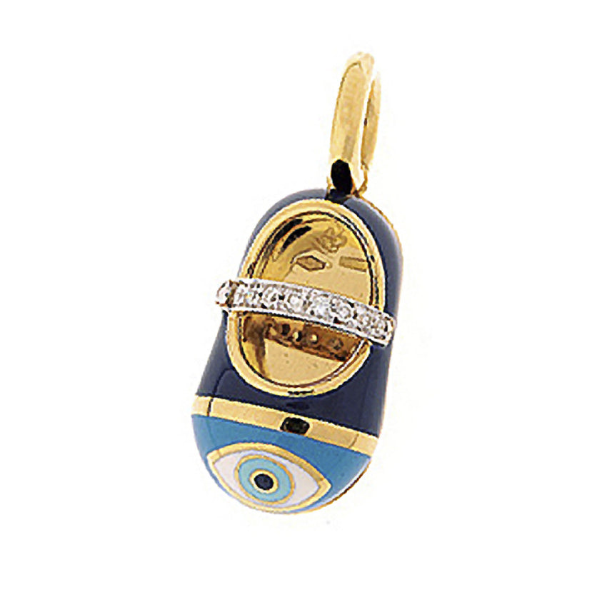 18K Yellow Gold Evil Eye Shoe