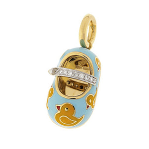 18K Yellow Gold Light Blue & Yellow Rubber Duckie Shoe