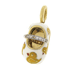 18K Yellow Gold White & Yellow Rubber Duckie Shoe