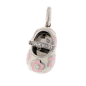 18K White Gold & White Shoe Charm with Pink Flowers