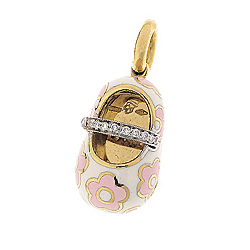 18K Yellow Gold & White Shoe Charm with Pink Flowers