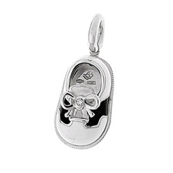 White Baby Shoe Charm with Black Saddle in 18K White Gold with Diamond Bow