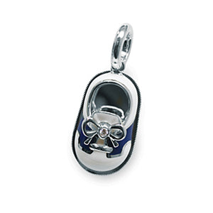 18K White Gold White & Navy Saddle Shoe