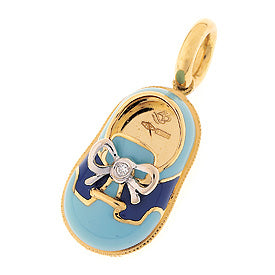 18K Yellow Gold Light Blue & Navy Saddle Shoe